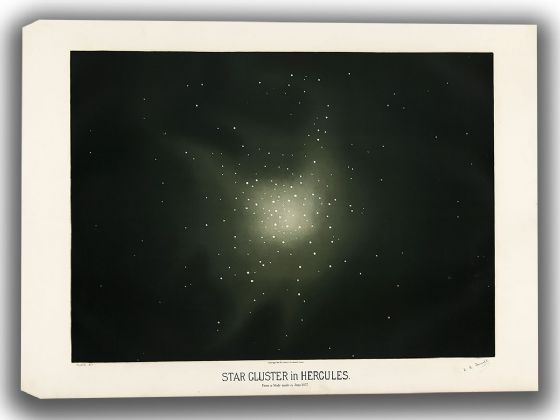 Trouvelot, Etienne Leopold: Star Cluster in Hercules. (The Trouvelot Astronomical Drawings, 1882). Astronomy/Space Canvas. Sizes: A4/A3/A2/A1 (00104)